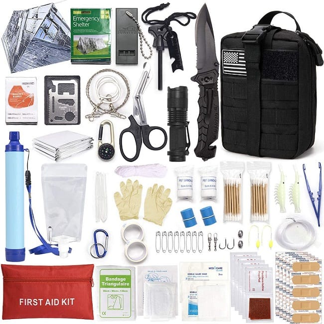 DLY Survival First Aid Kit Molle System Compatible Outdoor Gear Emergency Kits