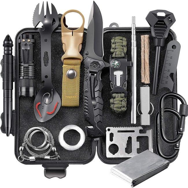 EILIKS Survival Gear Kit, Emergency EDC Survival Tools 24 in 1 SOS Earthquake Aid Equipment