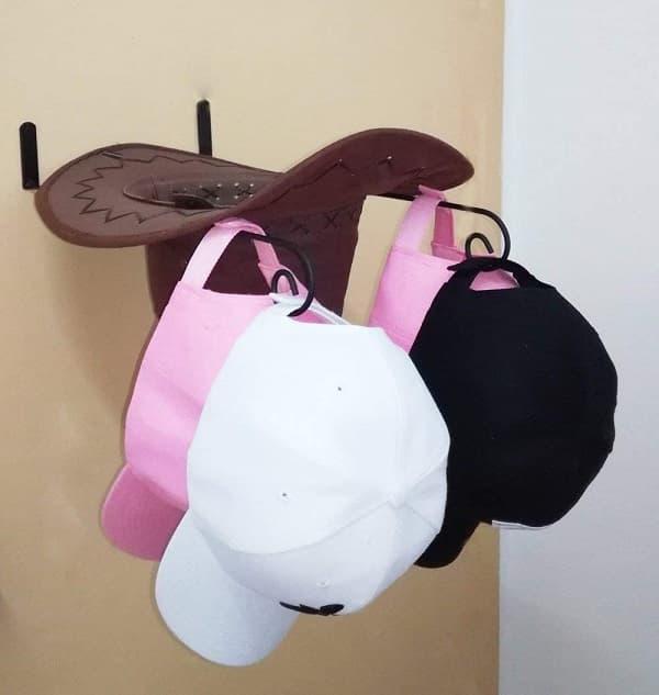 Queens DIY Cowboy Hat Holder Black Metal Hat Rack Wall mounted Baseball hat hanger