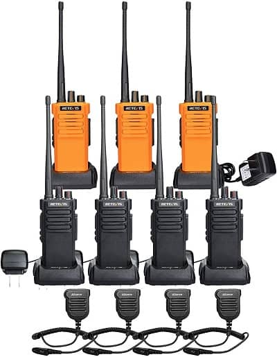 Retevis RT29 2 Way Radios Long Range 7 Pack with Waterproof Speak Mic