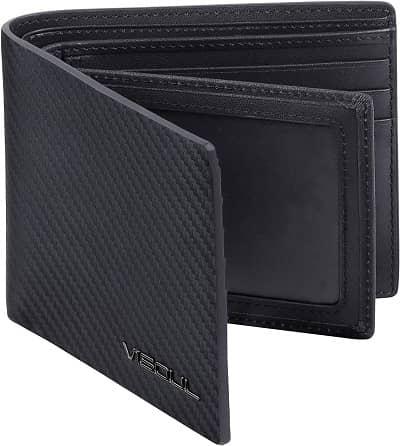 VISOUL Mens Carbon Fiber Leather Bifold Wallet with 2 ID Windows